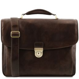 Alessandria Leather multi compartment TL SMART laptop briefcase Dark Brown TL142067