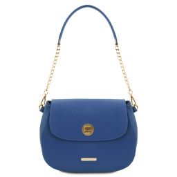 Fresia Leather shoulder bag Blue TL141956