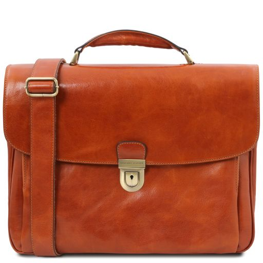 Alessandria Leather multi compartment TL SMART laptop briefcase Мед TL142067