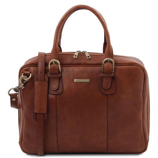 Matera Leather multi compartment briefcase Brown TL142080