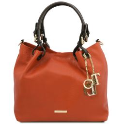 TL KeyLuck Soft leather shopping bag Brandy TL141940