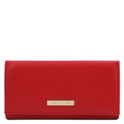 Nefti Exklusive Geldbörse für Damen aus weichem Leder Lipstick Rot TL142053