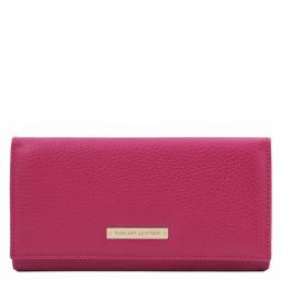 Nefti Exklusive Geldbörse für Damen aus weichem Leder Fucsia TL142053
