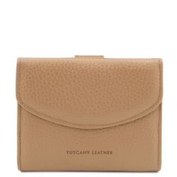 Calliope Exclusive 3 fold leather wallet for women with coin pocket Champagne TL142058