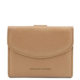 Calliope Esclusivo portafoglio donna in pelle 3 ante con portaspiccioli Champagne TL142058