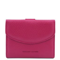 Calliope Exclusive 3 fold leather wallet for women with coin pocket Fuchsia TL142058
