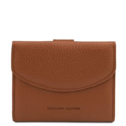 Calliope Exclusive 3 fold leather wallet for women with coin pocket Коньяк TL142058