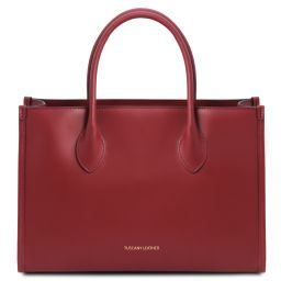 Letizia Sac shopping en cuir Rouge TL142040