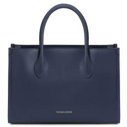 Letizia Shopping Tasche aus Leder Dunkelblau TL142040