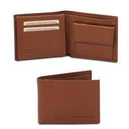 Esclusivo portafoglio uomo in pelle morbida a 3 ante con portaspiccioli Cognac TL142074