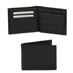 Esclusivo portafoglio uomo in pelle morbida a 3 ante con portaspiccioli Nero TL142074