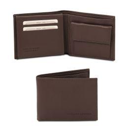 Esclusivo portafoglio uomo in pelle morbida a 3 ante con portaspiccioli Testa di Moro TL142074