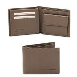 Elegante cartera de señor en piel suave con monedero Marrón topo oscuro TL142074