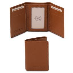Exklusive Brieftasche aus weichem Leder mit 3 Scheinfächern Cognac TL142086