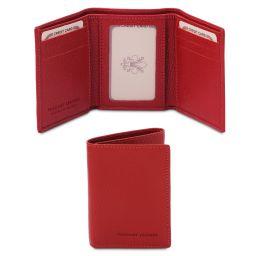 Esclusivo portafoglio in pelle morbida a 3 ante Rosso Lipstick TL142086