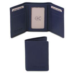 Elégant portefeuille en cuir souple avec 3 volets Bleu foncé TL142086