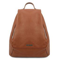 TL Bag Lederrucksack für Damen aus weichem Leder Cognac TL142096