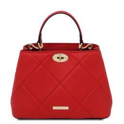 TL Bag Borsa a mano in pelle morbida trapuntata Rosso Lipstick TL142132