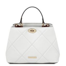 TL Bag Handtasche aus weichem Leder im Steppdesign Weiß TL142132