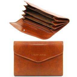Esclusivo portafogli in pelle da donna con soffietti Miele TL140786