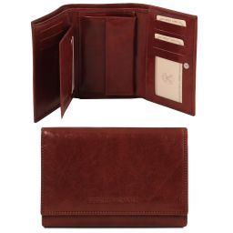 Exclusive 3 fold leather wallet for women Brown TL141314
