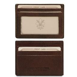Elegante porta tarjetas de credito en piel Marrón oscuro TL140805