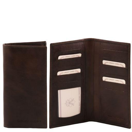 Эксклюзивный вертикальный кожаный бумажник двойного сложения Темно-коричневый TL140784