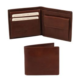 Exclusive 3 fold leather wallet for men with coin pocket Brown TL141377