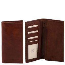 Эксклюзивный вертикальный кожаный бумажник двойного сложения Коричневый TL140777