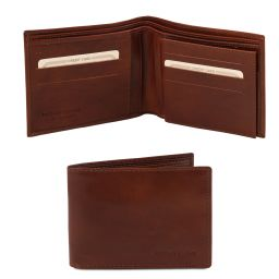 Exclusive 3 fold leather wallet for men Brown TL140817