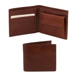 Exclusive 2 fold leather wallet for men with coin pocket Brown TL140761