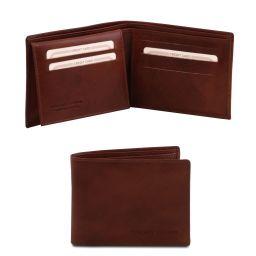 Эксклюзивный кожаный бумажник тройного сложения для мужчин Коричневый TL140760