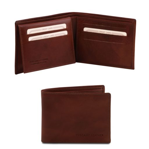 Exclusive 3 fold leather wallet for men Brown TL140760
