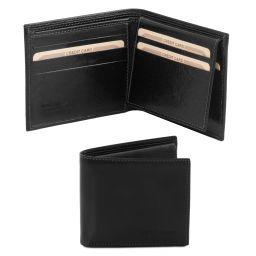 Esclusivo portafoglio uomo in pelle 3 ante Nero TL141353