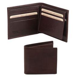Elegante cartera de señor en piel Marrón oscuro TL141353