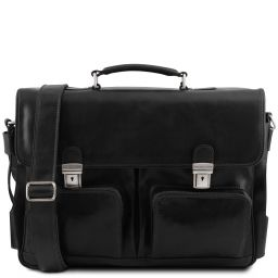 Ventimiglia Cartable TL SMART multi compartiments en cuir avec poches frontales Noir TL142069
