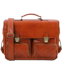 Ventimiglia Leather multi compartment TL SMART briefcase with front pockets Honey TL142069