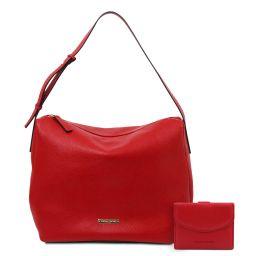 Ischia Borsa hobo in pelle morbida e portafoglio in pelle 3 ante con portaspiccioli Rosso Lipstick TL142149