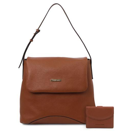 Capri Sac bandoulière en cuir souple et portefeuille en cuir avec 3 volets et porte monnaie Cognac TL142150