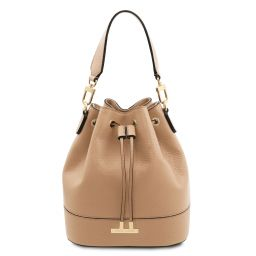 TL Bag Leather bucket bag Champagne TL142146