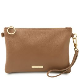 TL Bag Soft leather clutch Taupe TL142029