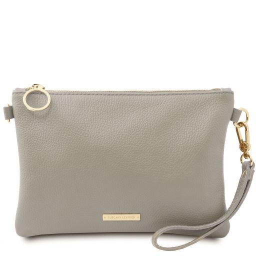 TL Bag Clutch aus weichem Leder Light grey TL142029