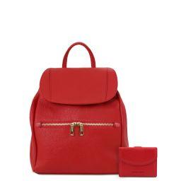 Elba Sac à dos pour femme en cuir souple et portefeuille en cuir avec 3 volets et porte monnaie Rouge Lipstick TL142153