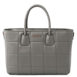 TL Bag Sac à main en cuir souple matelassé Gris TL142124
