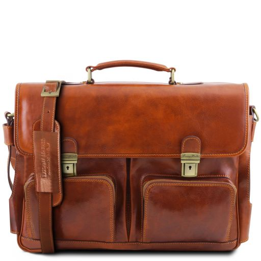 Ventimiglia Leather multi compartment TL SMART briefcase with front pockets Honey TL141449