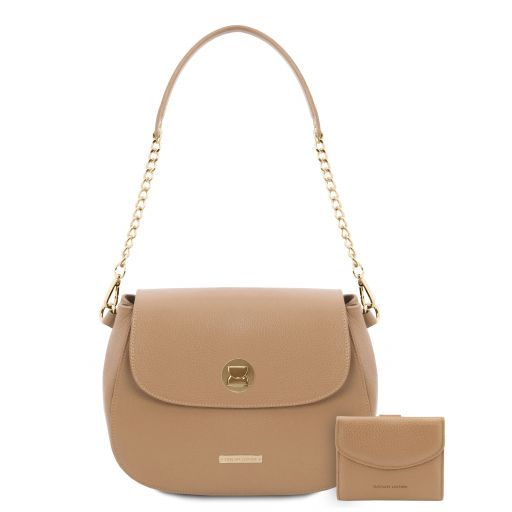 Lipari Leather shoulder bag and 3 fold leather wallet with coin pocket Champagne TL142154