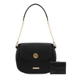 Lipari Schultertasche aus Leder und Brieftasche aus Leder mit 3 Scheinfächern und Münzfach Schwarz TL142154