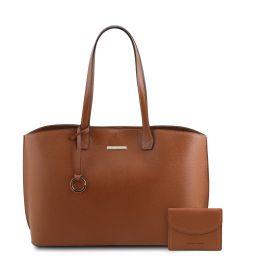 Pantelleria Borsa shopping in pelle e portafoglio in pelle 3 ante con portaspiccioli Cognac TL142157