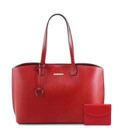 Pantelleria Leather shopping bag and 3 fold leather wallet with coin pocket Lipstick Red TL142157