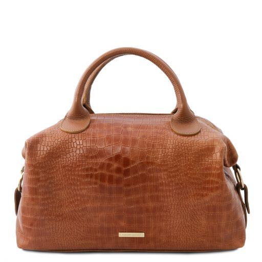 TL Bag Croc print soft leather maxi duffle bag Cinnamon TL142121